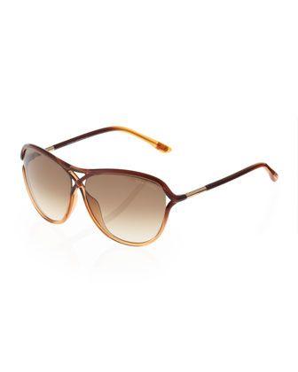 92d9f264dbf7a Tom Ford - Tabitha Sunglasses, Dark Brown Light Brown   Threads ...