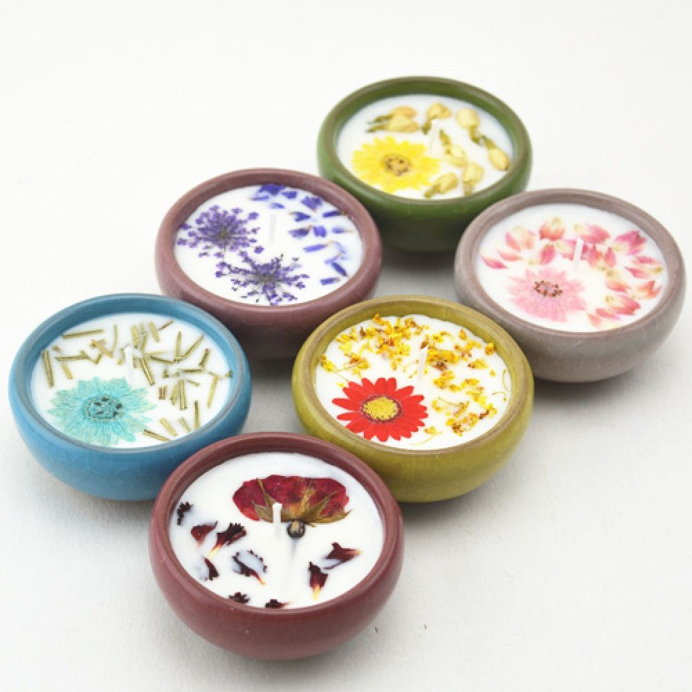 Dried flowers natural scented candle natural candle