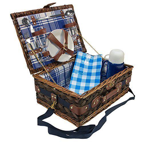 Picknick Korb mit Porzellan-Geschirr f 2 Person 604007 - porzellan geschirr geschenk