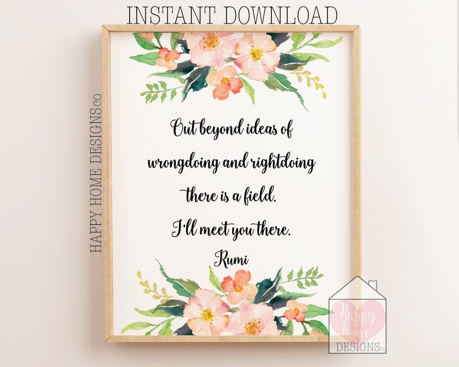 Rumi Quote Print Rumi Wall Art Out Beyond Ideas Of Etsy Quote Prints Inspirational Prints Wall Art Instant Download