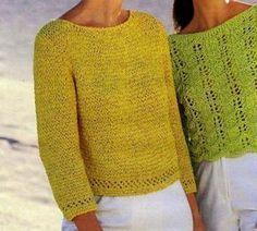 Ecco a voi una maglietta gialla lavorata a punto fantasia e bordure a punto traforato: si tratta di un lavoro abbastanza semplice, sicuramente un gioco da ragazze per le veterane di lavori a maglia.