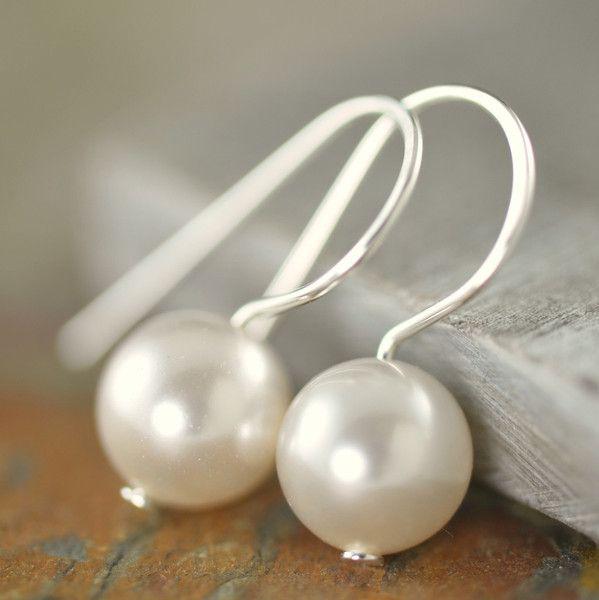 Beautifully simple: White Swarovski Pearl earrings