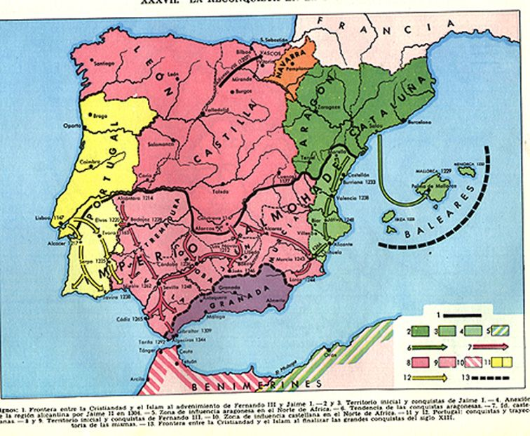 Th Century Spain Reflecting The Progress Of The Reconquest - Spain historical map
