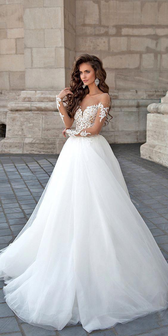 White Wedding Dress Long Bridal Dress Applique Weeding Dress In