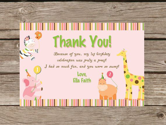 Sweet Safari First Birthday Thank You Card By Taowithlove On Etsy