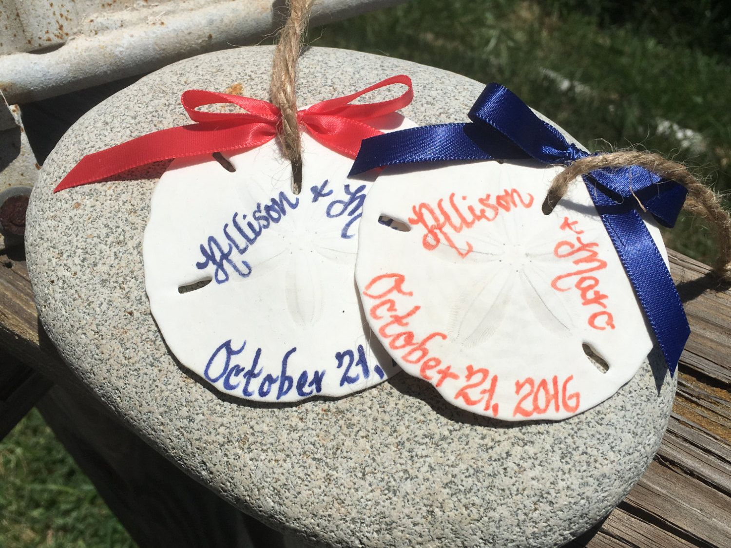 Beach Wedding Favors/ Ornaments, Personalized Calligraphy Sand ...