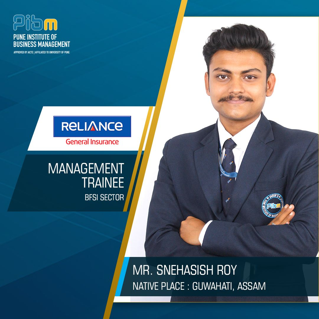 Pibm Congratulates Mr Snehashish Roy For Getting Placed Reliance