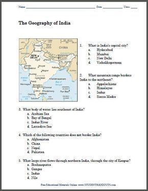 Geography of India Map Worksheet - Free to print (PDF file ...