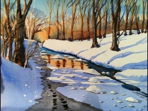 Watercolour Painting Demonstration Of Woodland River Snowscene