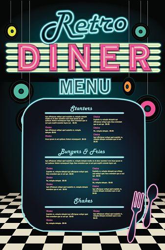 Late Night Retro 50s Diner Neon Menu Layout Mas