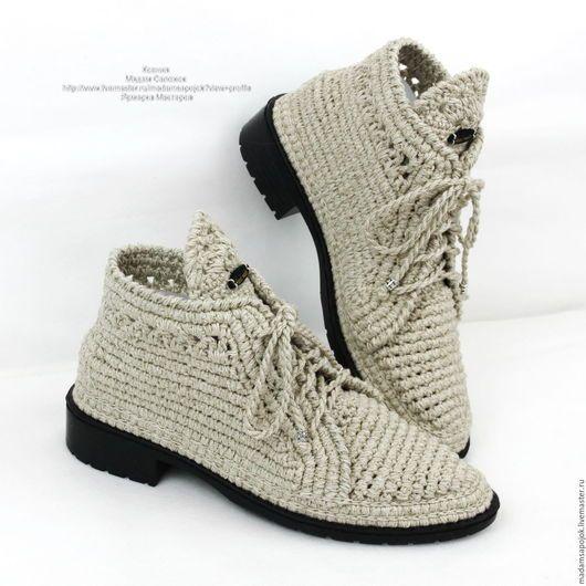 56a4206c8945 Обувь ручной работы. Ярмарка Мастеров - ручная работа. Купить Льняные  ботиночки вязаные. Handmade. Хаки, вязаные мокасины