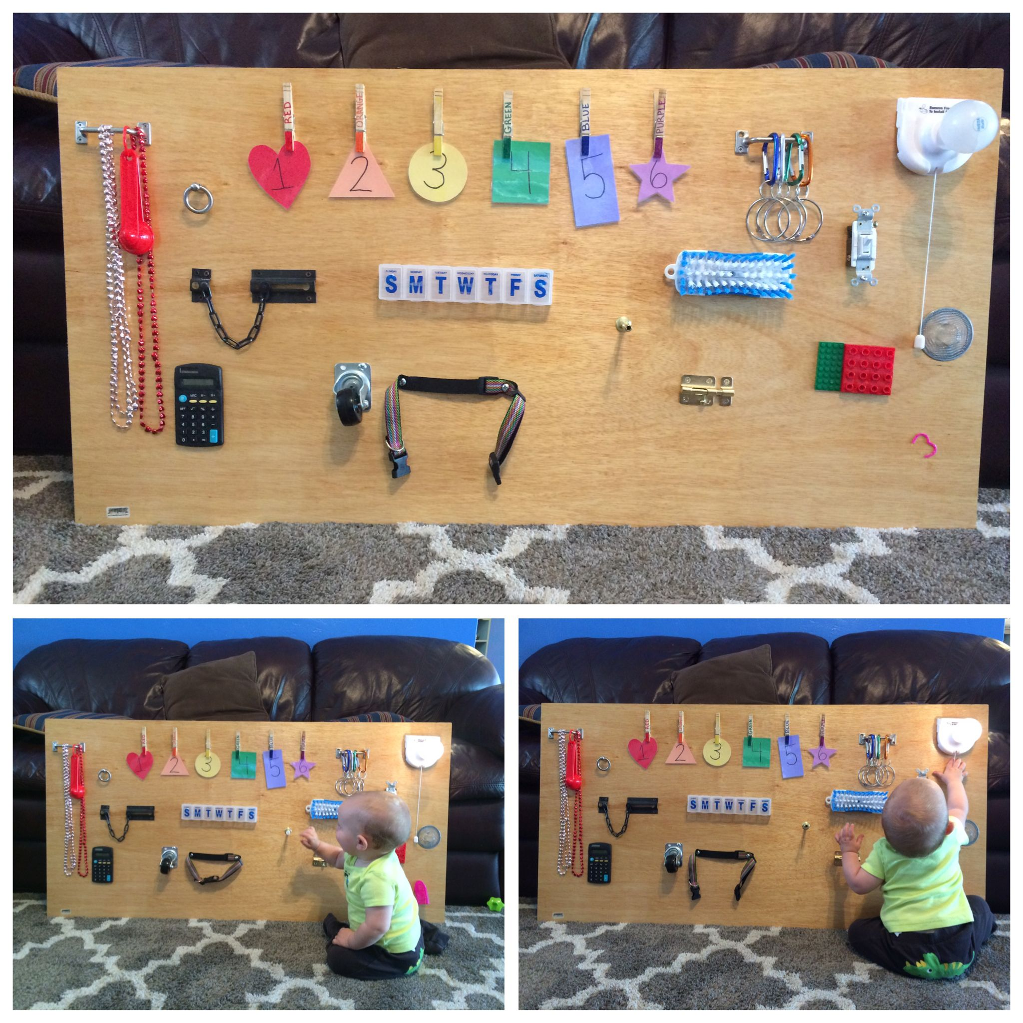 Diy Busy Board Made From Dollar Store Materials And A Few Pieces