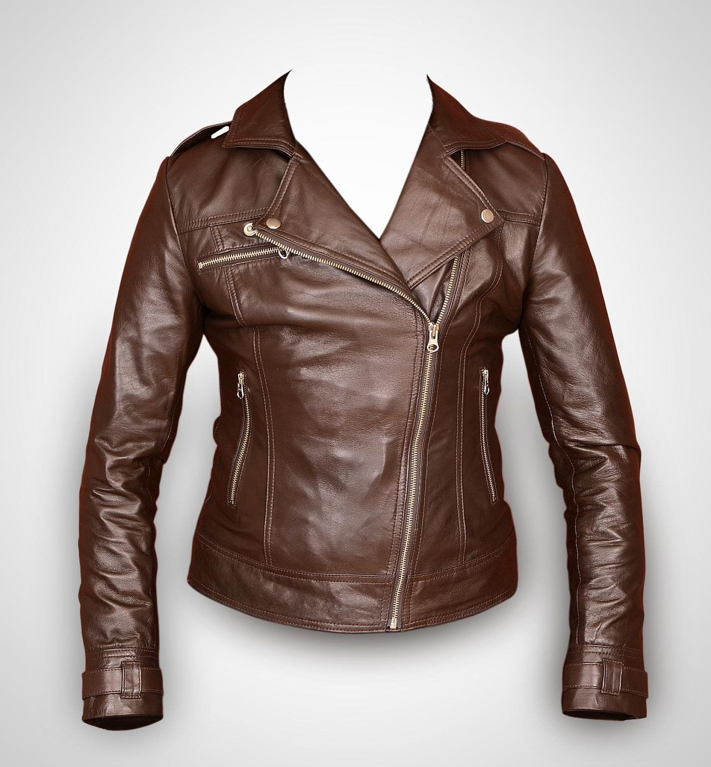 Brown leather jacket $99.00, via Etsy | Rubyleather