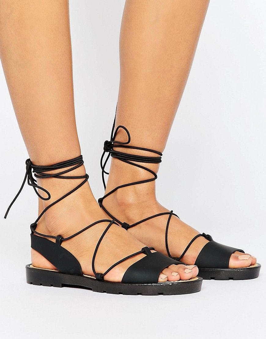 fbdb40aabdd FLUTTER Tie Leg Jelly Sandals | prom | Sandals, Jelly sandals, Shoes