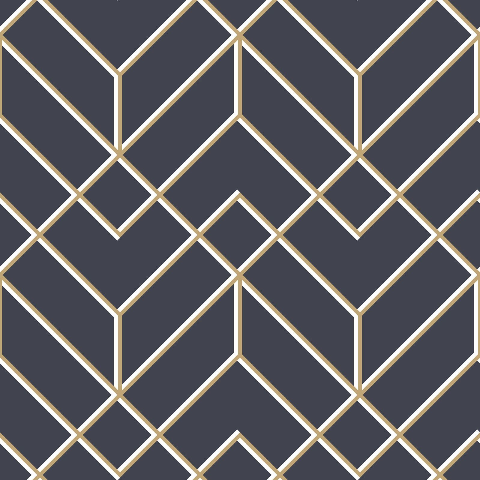 Losanges Filaires Navy/gold Wallpaper Gold geometric