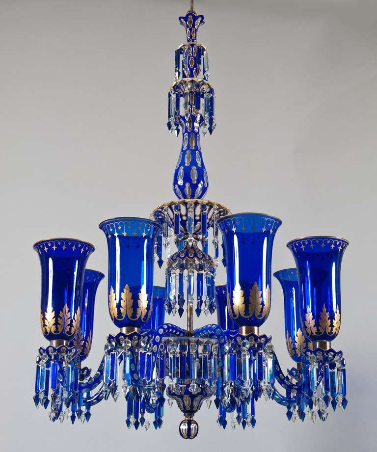 Important Blue Glass Chandelier And Pair Of Matching Wall Lights By F C Osler