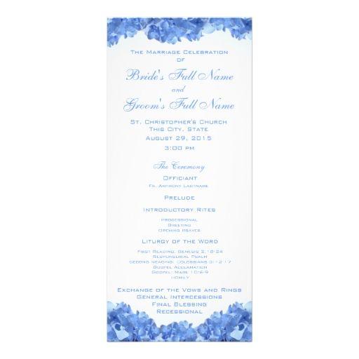 Blue Hydrangea Wedding Program Full Color Rack Card