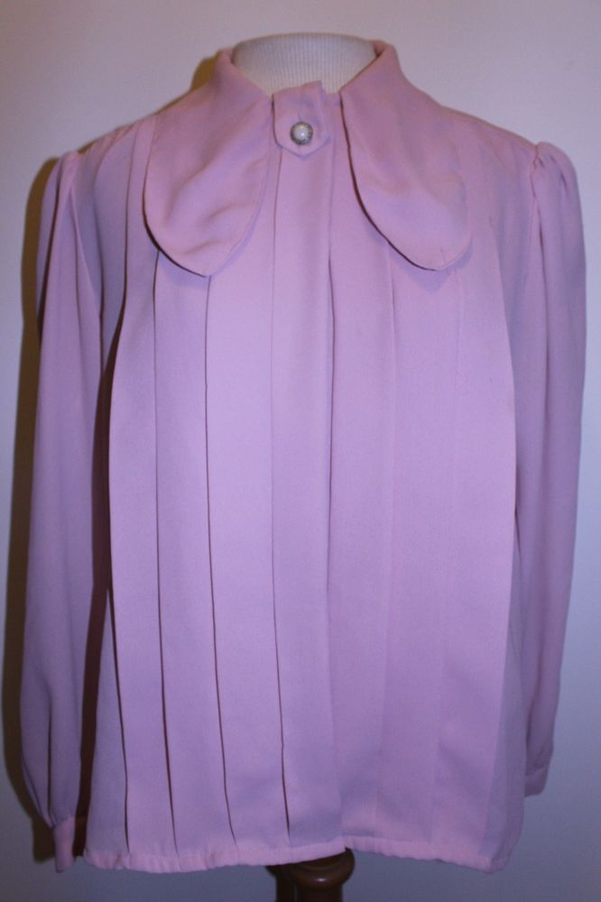 Christie & Jill Blouse 10 Pleated Front Pearl Neck Drop Collar Top #ChristieJill #Blouse #CasualCareer