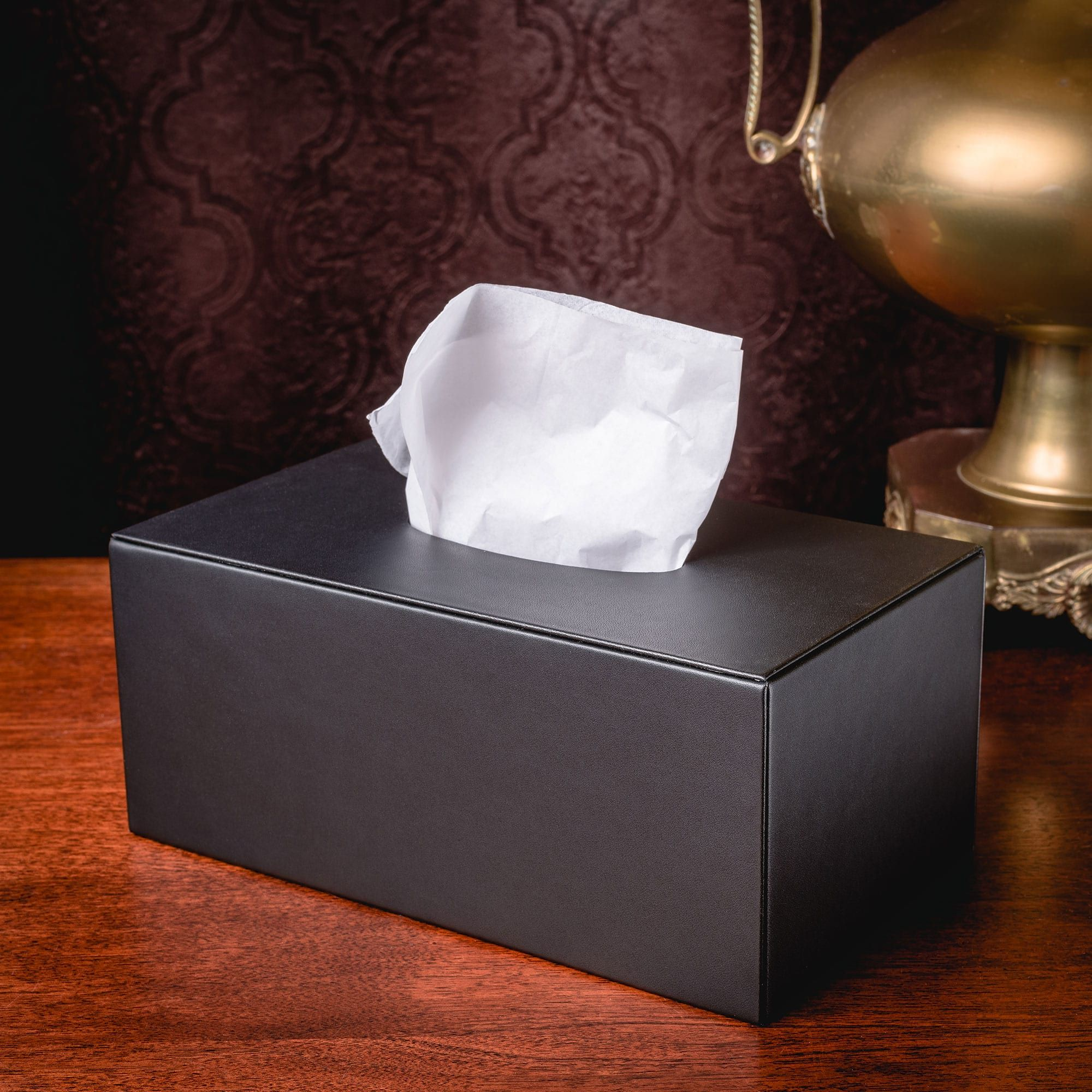 Black Leather Rectangular Tissue Box Cover In 2020 Tissue Box Covers Covered Boxes Tissue Boxes