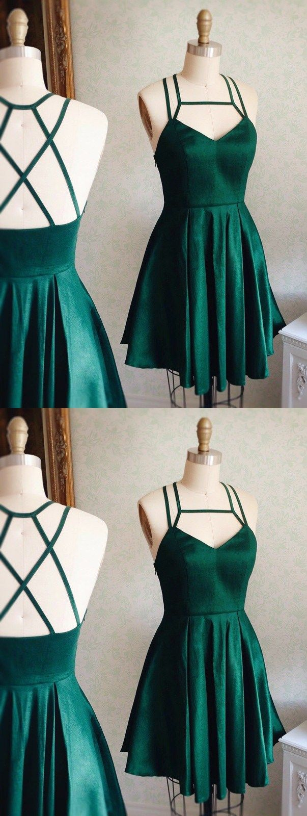 Aline square sleeveless dark green taffeta short homecoming dress