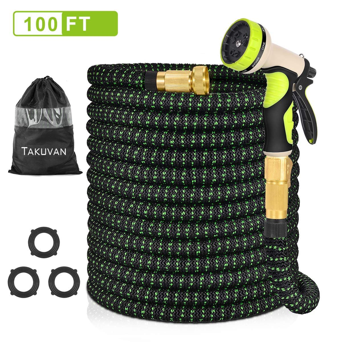 Takuvan 100ft Expandable Garden Hose 100 Feet Upgraded Water Hose Durable Flexible Hose With 9 Spray Patterns Hose Nozzl Water Hose Garden Hose Spray Pattern