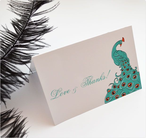 Free Printable Peacock Thank You Card Wedding Invitation