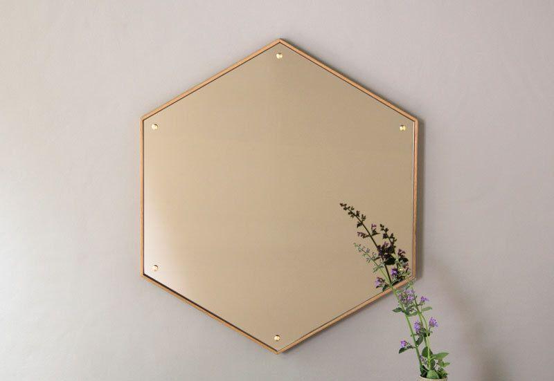 Hex Mirror - Waxed Oak Hexagon Mirror by wrenandcooper on Etsy https://www.etsy.com/listing/235464186/hex-mirror-waxed-oak-hexagon-mirror