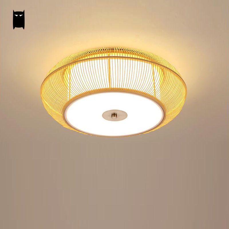 Bamboo Wicker Rattan Shade Ceiling Light Fixture Rustic Asian Lamp Home Bedroom