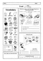 English worksheet: Food: I like and dislike (activities + ...