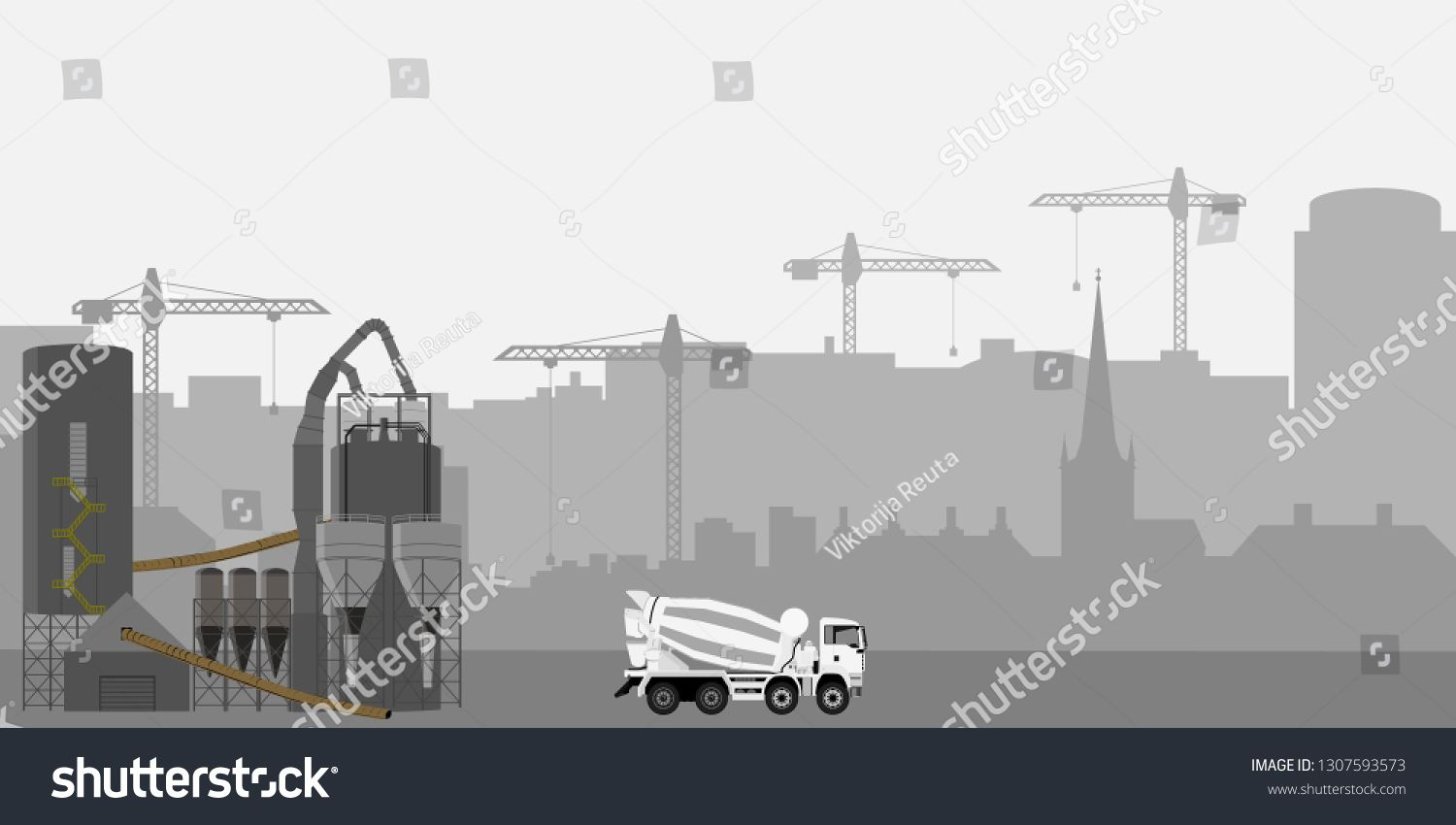 Abstract Industrial Skyline Concrete Cement Truck Mixet Truck