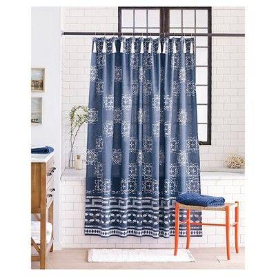 Batik Shower Curtain Indigo Blue