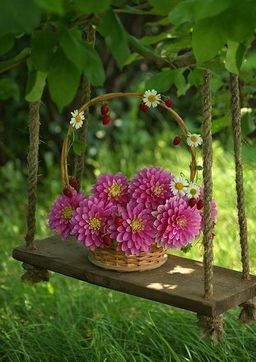 Happiness In A Basket And A Rustic Garden Swing