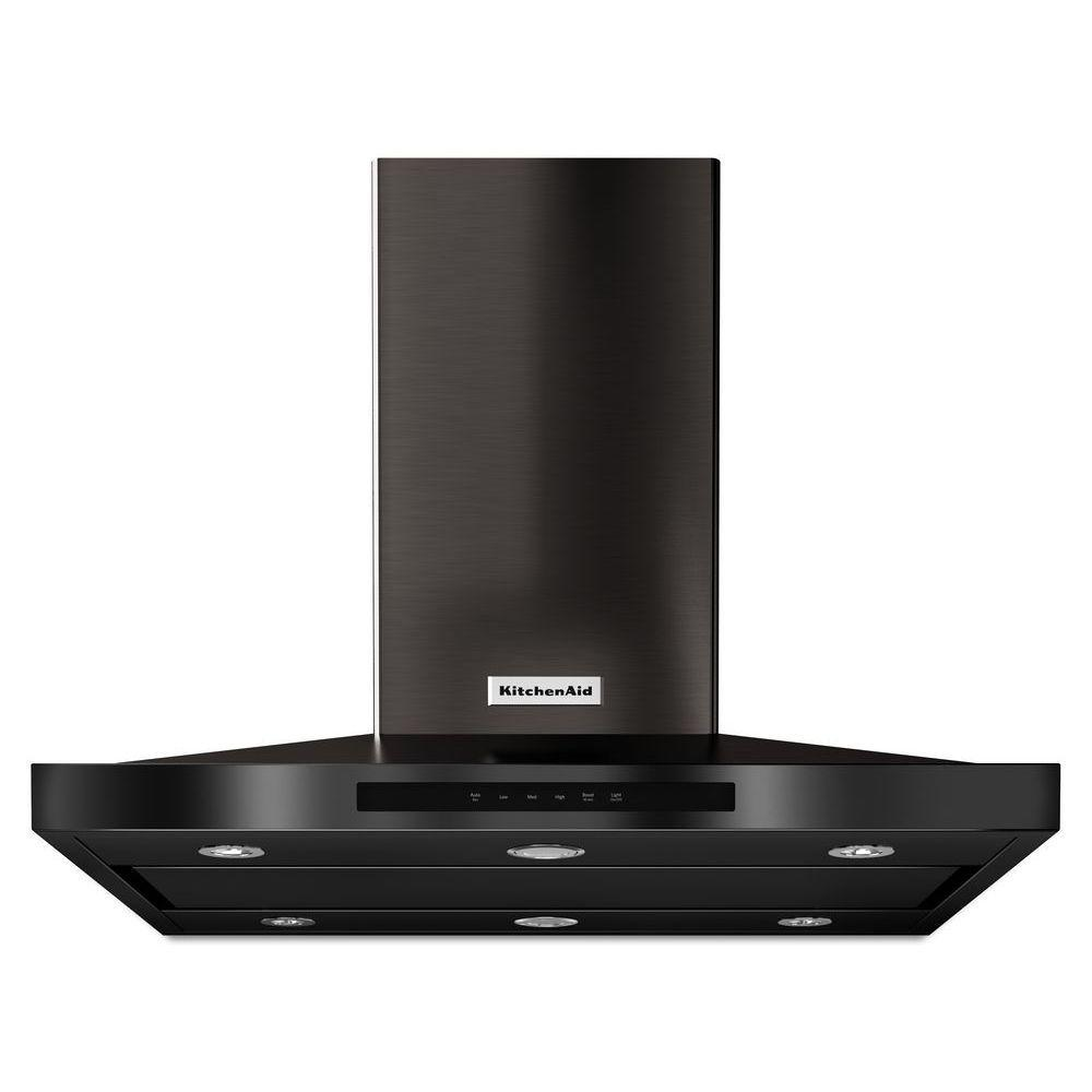 Kitchenaid 36 In Island Canopy Range Hood In Printshield Black Stainless Kvib606dbs Island Range Hood Stainless Steel Island Black Stainless Steel
