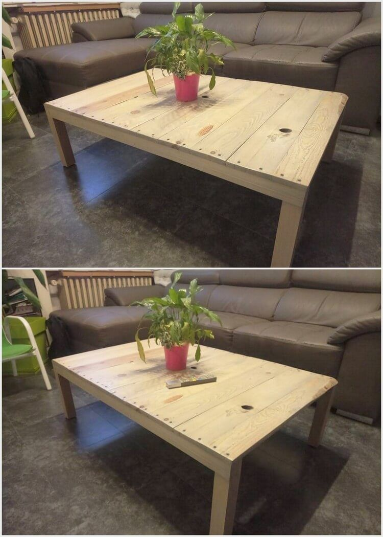 Besides setting your living room with the costly use of mirror table in it you can create a wood pallet brilliant table set at cheap rate