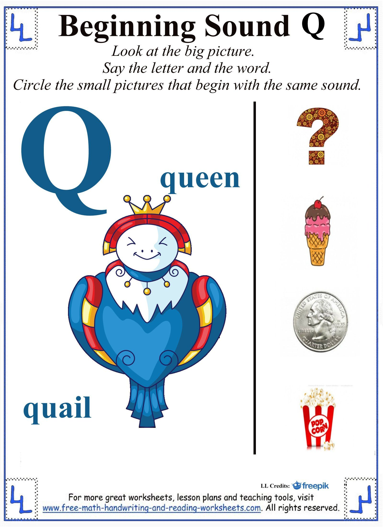 Printable letter q worksheets covering the beginning sound /qu/. More letter  worksheets, coloring pages, and alphabet activities available.