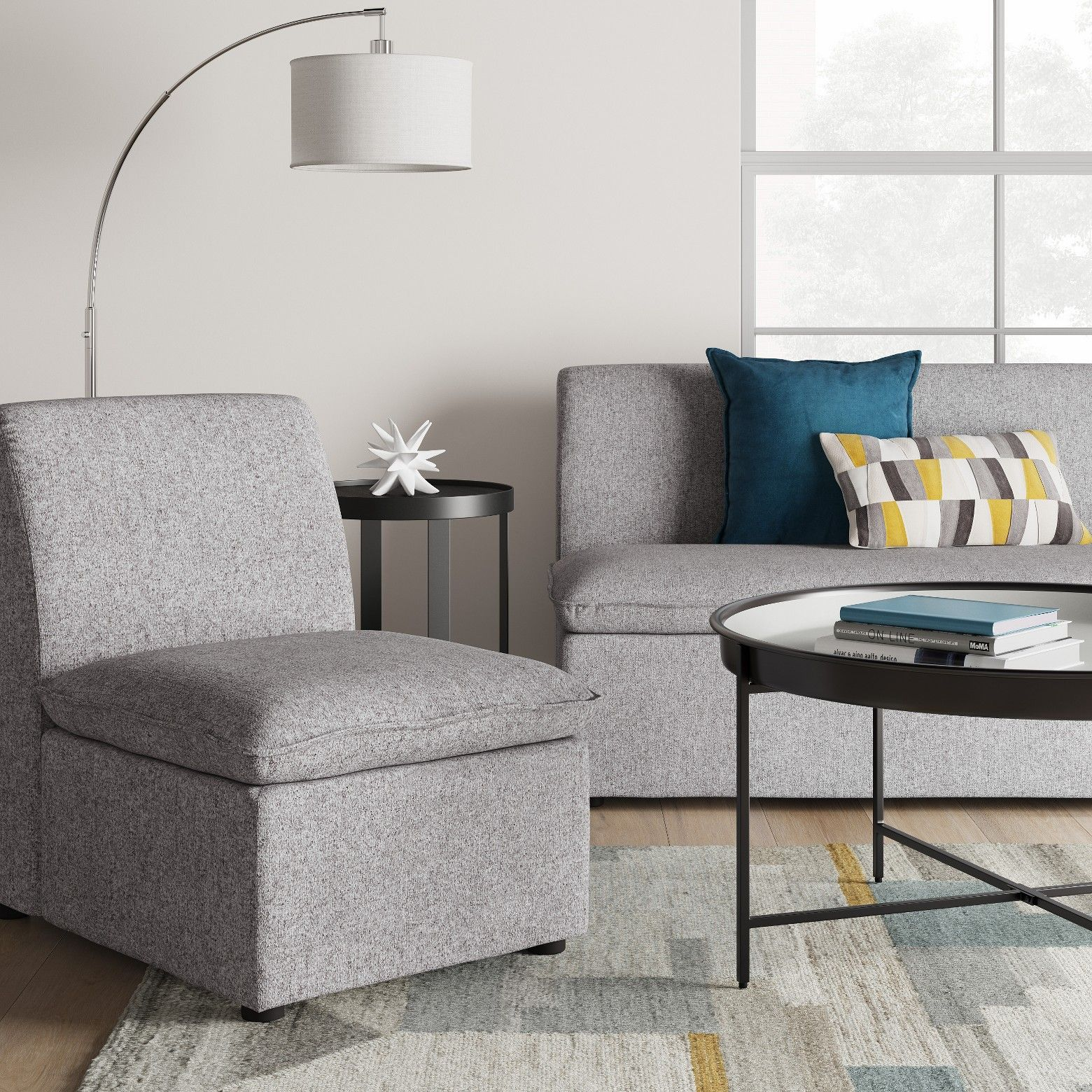 This straight backed Gray Beckstand Lounge Chair from