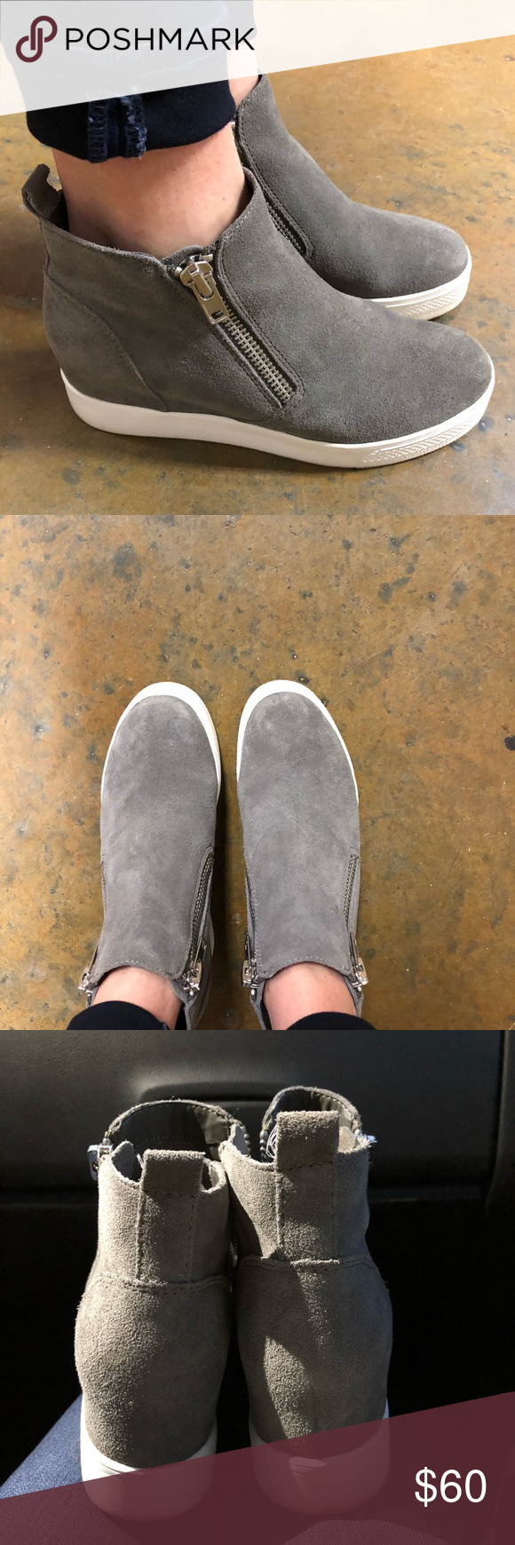 789011cea51 Steve Madden Wedgie Grey suede. Super cute and in excellent condition. Worn  a very few times. Steve Madden Shoes Wedges
