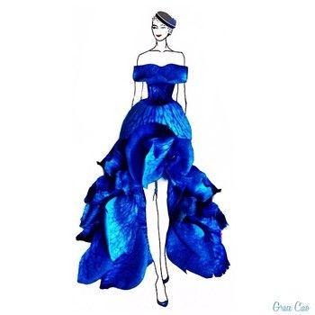 ため息が出るほど綺麗 本物の花びらを使って描かれた素敵なドレスデザイン キナリノ ファッションイラストドレス ファッションデザインのスケッチ ファッションスケッチ