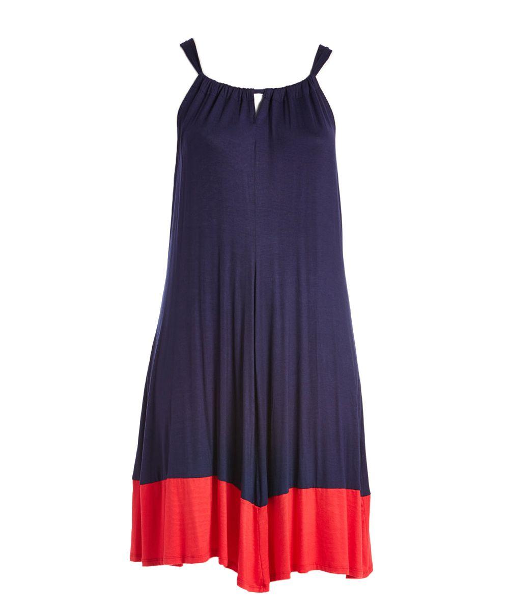 Navy u red colorblock sleeveless dress plus products pinterest