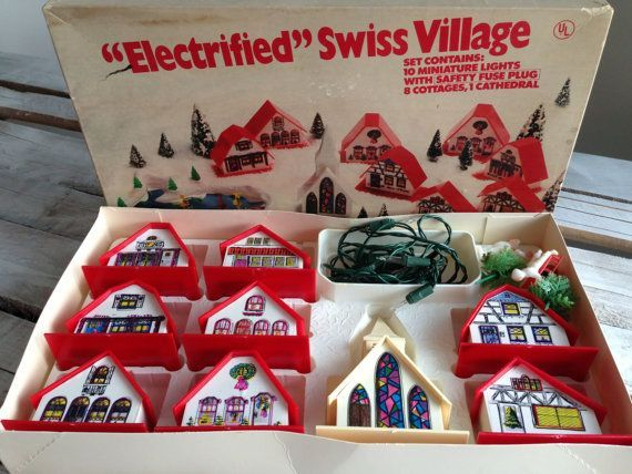 Retro Christmas Decorations From 1960 Vintage Electrified Swiss Village 1960s Vintage Christmas Decorations Retro Christmas Decorations Christmas Decorations