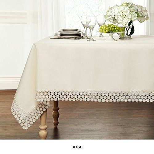 """Amazon.com - Luxurious Heavy Weight Macrame Trim Fabric Tablecloth By GoodGram® - Assorted Sizes & Colors - White, 60"""" x 90"""" Rectangle (6-8 Chair) -"""