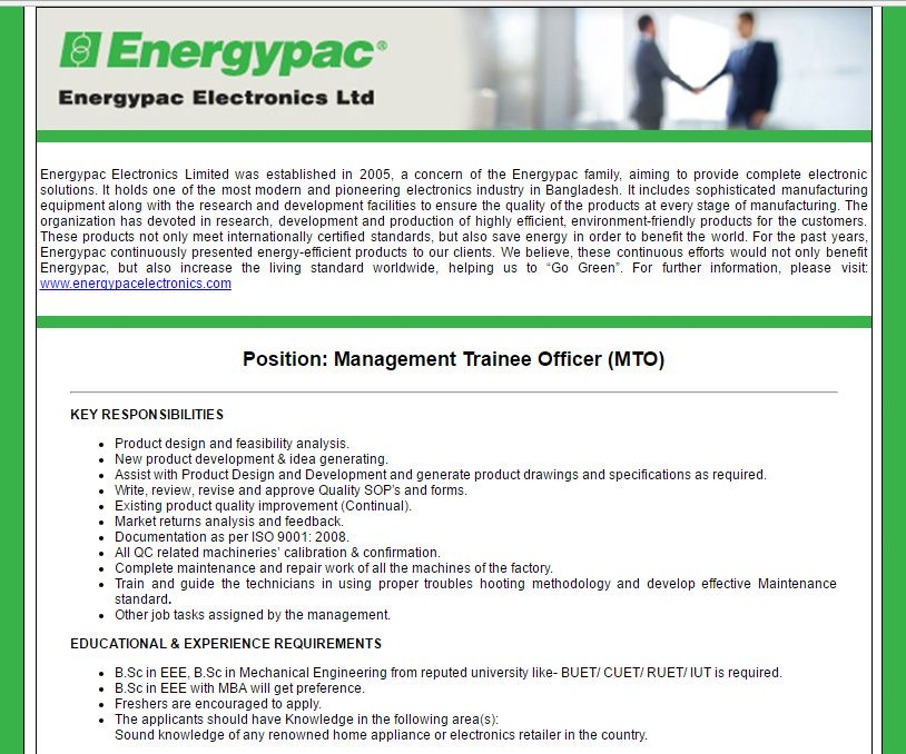 Energypac Electronics Limited Management Trainee Officer Mto