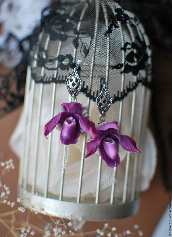 """Купить Серьги """"Орхидейки-Башмачки"""". - фиолетовый, лиловый, орхидеи, орхидея ручной работы, орхидея"""