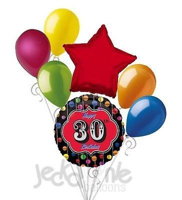 7 Pc Festive 30th Happy Birthday Balloon Bouquet Party Decoration Thirty