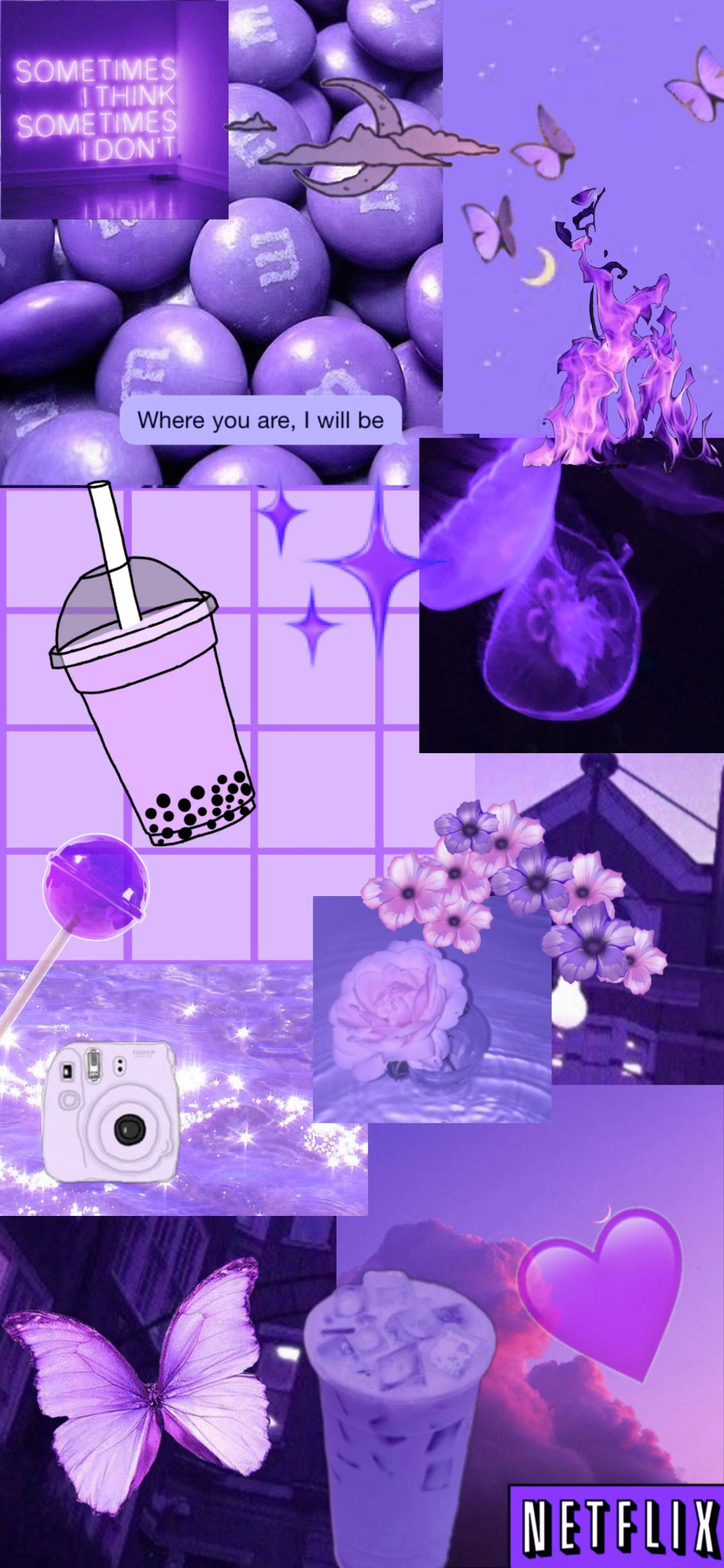 Purple Aesthetic Wallpaper Ungu Latar Belakang Kartun