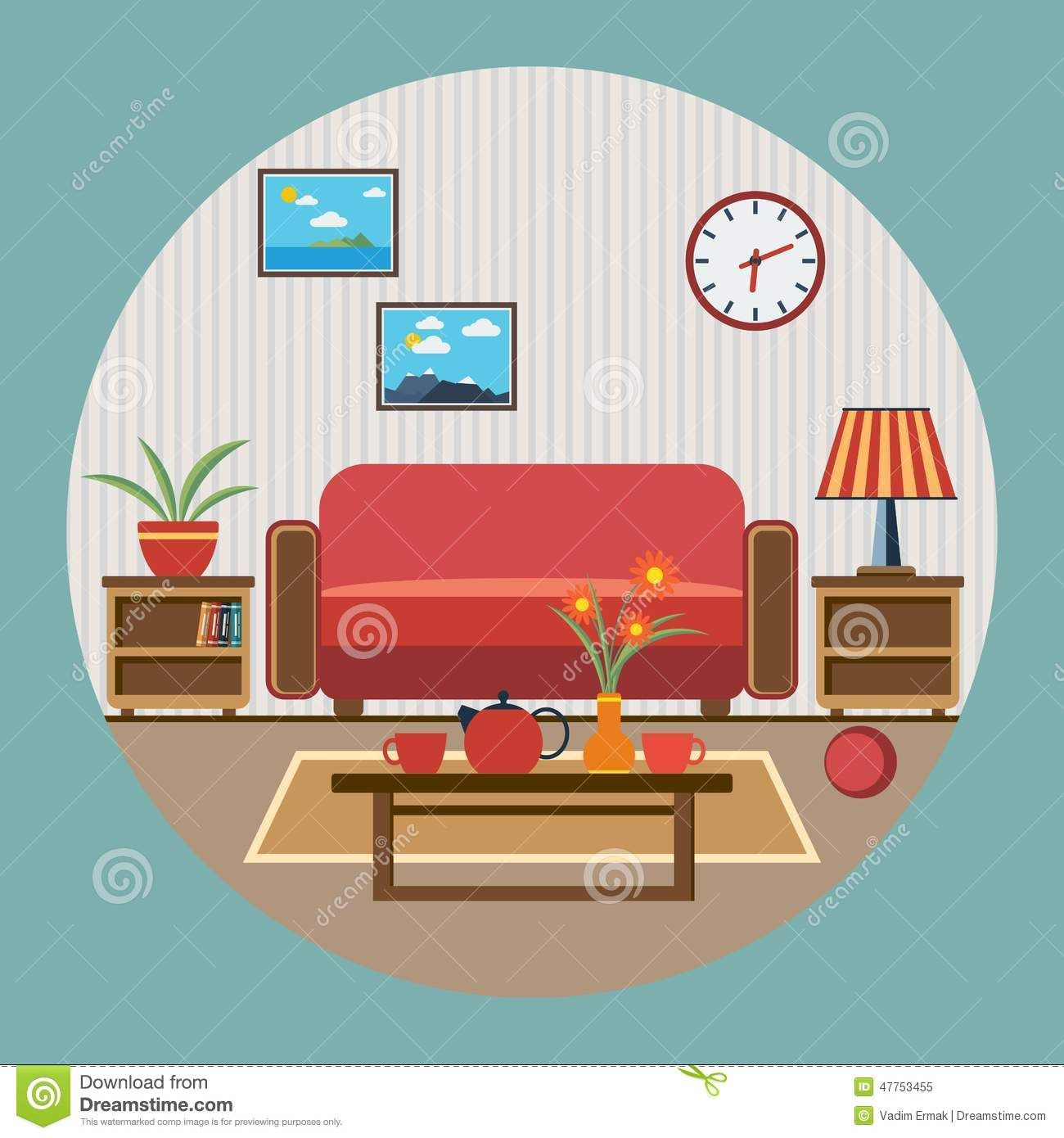 All rooms in the house rooms of homes vector art image illustration - Living Room Illustration Google Search