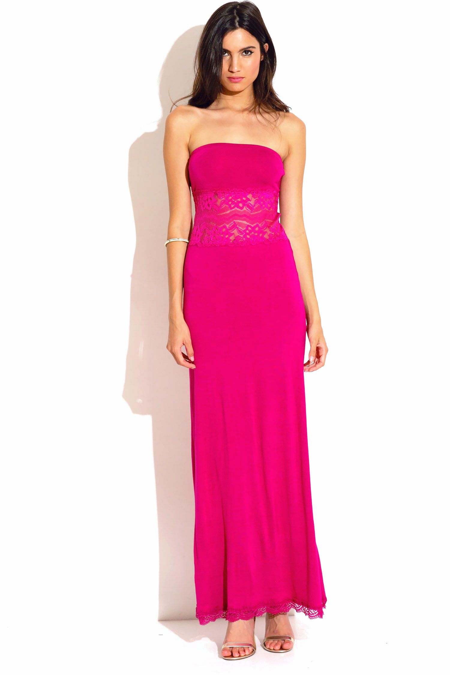 Greek Island - Trendy Cute magenta hot pink strapless lace inset ...