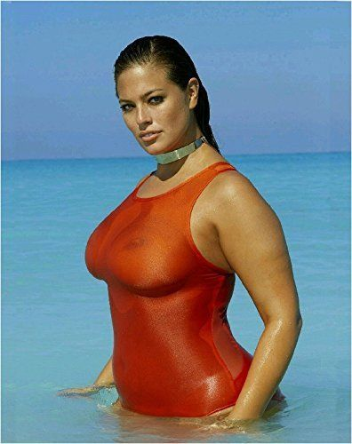 ca55a80d99216 Ashley Graham Swimsuit Photo Pictured in Red #seethrough bathing costume.  Ashley has her own range of swimsuits that you can find on Amazon # ashleygraham ...