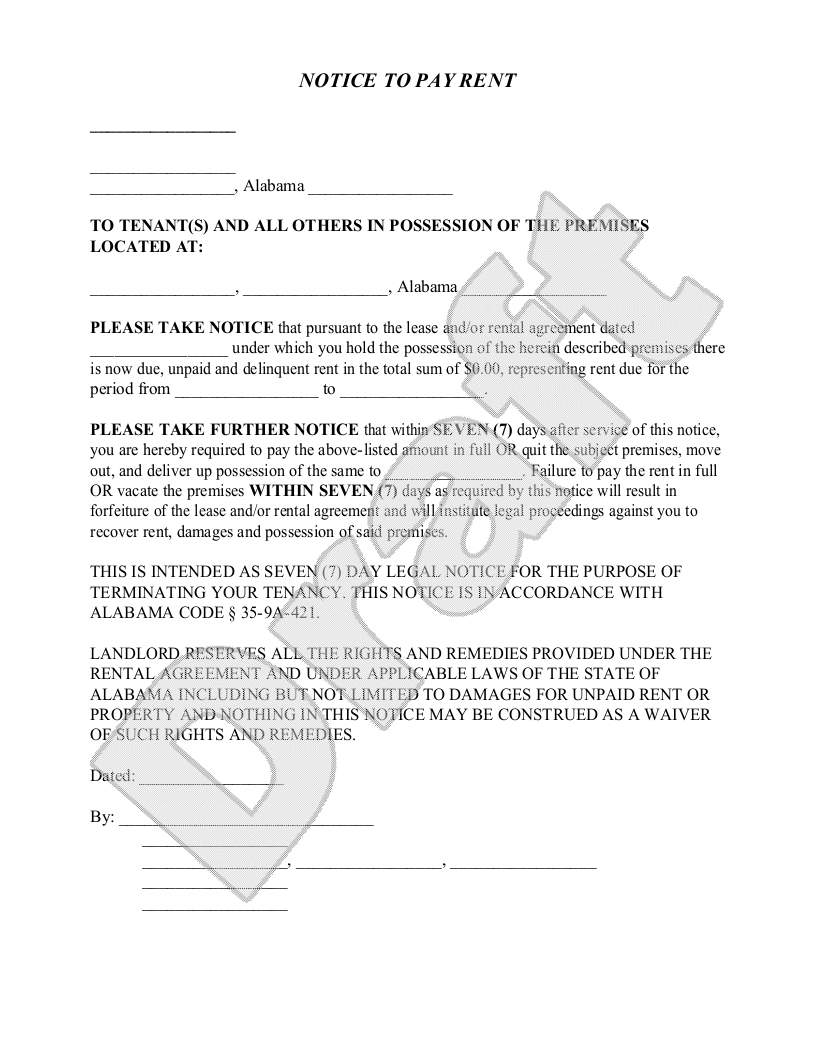 Alabama Eviction Notice Form Alabama Eviction Notice Sample – Legal Forms Eviction Notice
