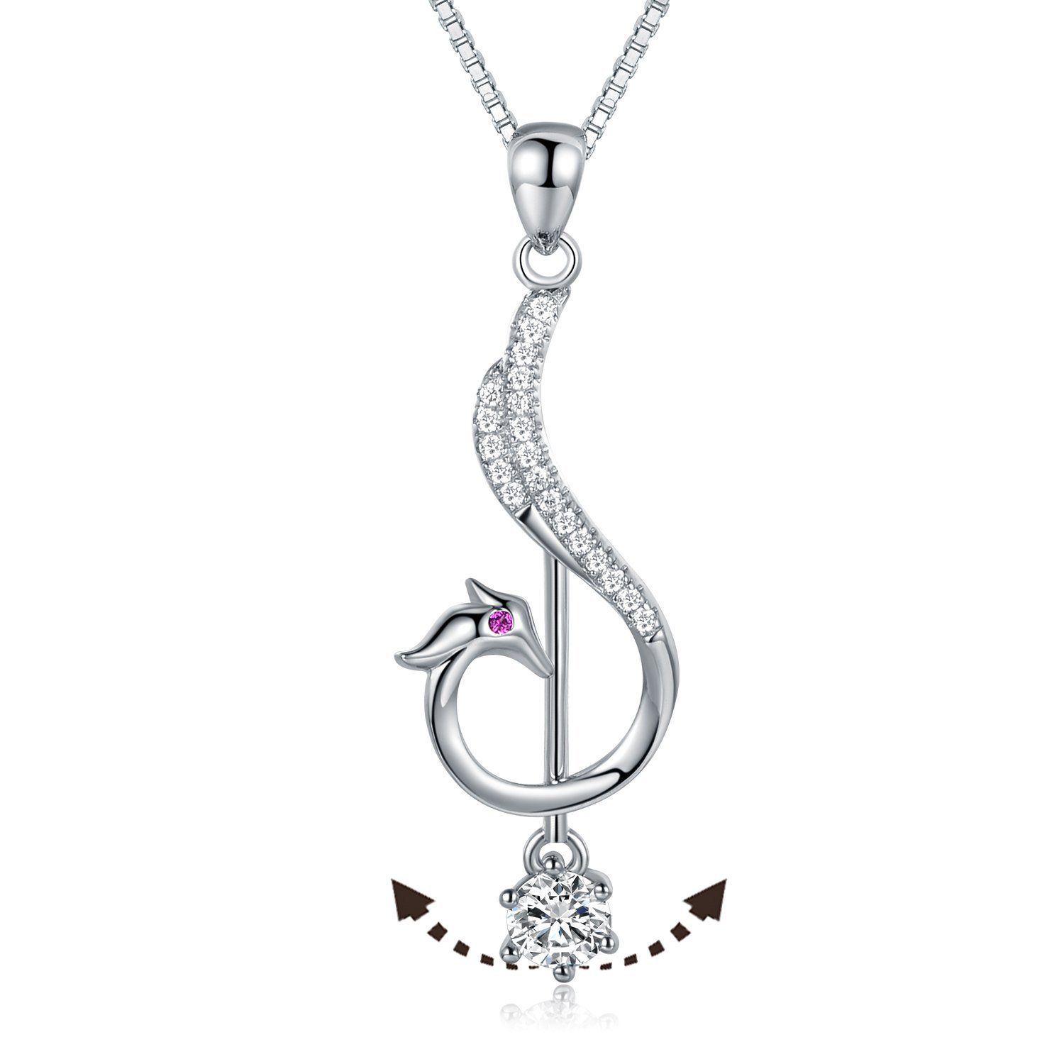 [JiangXin® Clearance sale] 925 Sterling Silver Simultated Diamond Pendant Necklace JqaRtHC